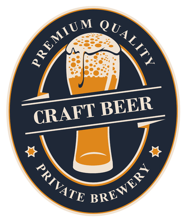 Vector label or banner for craft beer of the private brewery, with calligraphic lettering and overflowing glass of frothy beer on dark background in oval frame Çizim