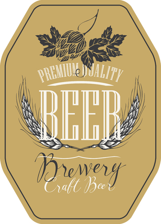 Template beer label with wheat or barley ears, hops and handwritten inscriptions in figured frame. Vector label for craft beer in retro style