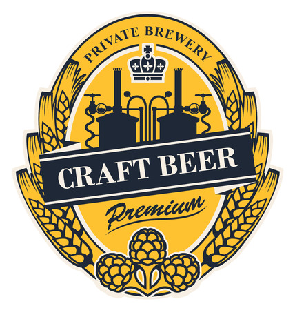 Template beer label with wheat or barley ears, hops, crown and with the image of the brewery in oval frame. Vector label for craft beer in retro style in form of coat of arms Illustration