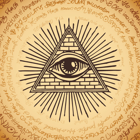 Vector banner with Eye of Providence. All-seeing eye inside triangle pyramid. Symbol Omniscience. Luminous Delta. Ancient mystical sacral illuminati symbol on background of an old illegible manuscript