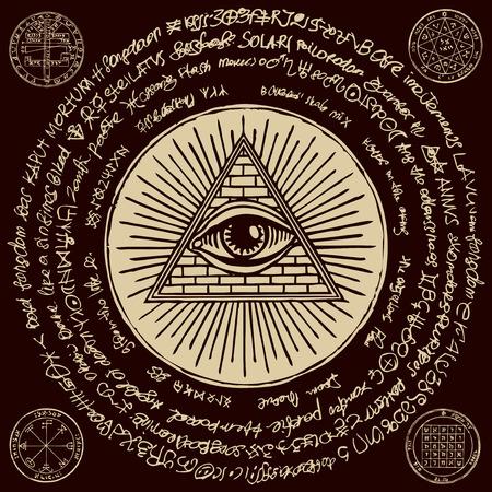 Bannière de vecteur avec Eye of Providence. Œil qui voit tout à l'intérieur de la pyramide triangulaire. Symbole Omniscience. Delta lumineux. Ancien symbole illuminati sacré mystique avec des inscriptions magiques sur fond noir