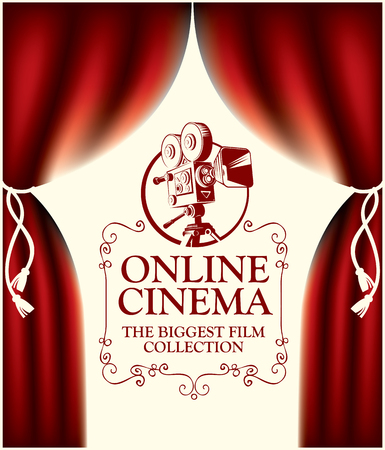 Vector online cinema poster with red curtains and movie projector in retro style. Online cinema concept. Can be used for flyer, banner, poster, web page, background