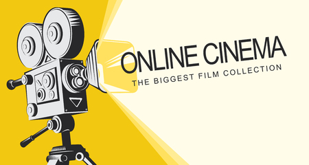 Vector online cinema poster with old fashioned movie projector. Vintage retro movie camera with light and video tape. Online cinema concept. Can be used for flyer, banner, poster, web page, background Иллюстрация