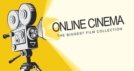 Vektor-Online-Kinoplakat mit altmodischem Filmprojektor. Vintage Retro-Filmkamera mit Licht und Videoband. Online-Kinokonzept. Kann für Flyer, Banner, Poster, Webseite, Hintergrund verwendet werden