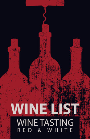Vector wine list for wine tasting patterned bottles with corkscrew with wooden board texture on black background