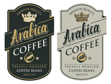 Conjunto de dos etiquetas vectoriales para granos de café recién tostados con corona en marco figurado en estilo retro con inscripción Arábica