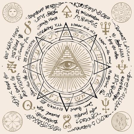 Bannière de vecteur avec Eye of Providence. Oeil qui voit tout à l'intérieur de la pyramide triangulaire. Symbole Omniscience. Delta lumineux. Ancien symbole mystique d'illuminati sacré avec des inscriptions magiques sur fond beige Vecteurs