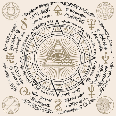 Vector banner with Eye of Providence. All-seeing eye inside triangle pyramid. Symbol Omniscience. Luminous Delta. Ancient mystical sacral illuminati symbol with magical inscriptions on beige backdrop