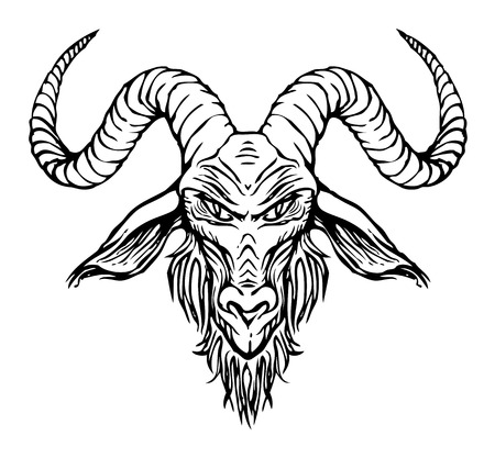 Vector illustration with a contour drawing of the head of a horned goat. The symbol of Satanism Baphomet on white background Stock Illustratie