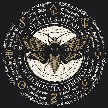 Illustration d'un papillon tête morte avec motif en forme de crâne sur le thorax sur un vieux fond abstrait avec des inscriptions et des symboles magiques. Bannière de vecteur dans un style rétro
