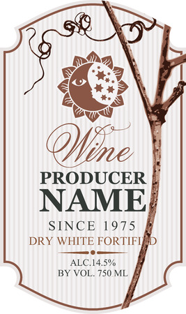 Vector wine label with grapevine, a picture of the sun and moon and calligraphic inscription in retro style in figured frame. Dry white fortified