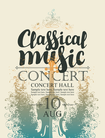 Vector poster for a concert of classical music with calligraphic inscription, place for text on abstract artistic background with violin Illustration