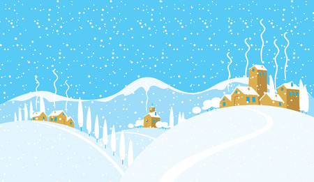 Snowy winter landscape with village church and houses on the snow-covered hills. Vector illustration, winter background