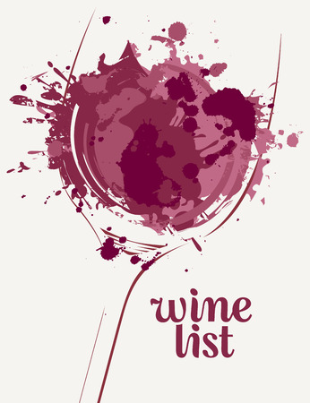 Vector Wine list with a silhouette of a glass of wine with wine spots and splashes on light background