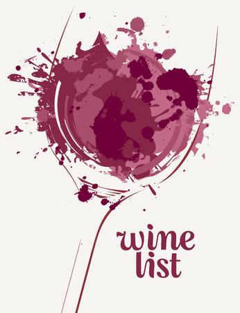 Vector Lista dei vini con una silhouette di un bicchiere di vino con macchie di vino e schizzi su sfondo chiaro