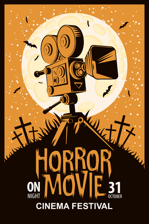 Vector poster for a festival of horror movie with an old film projector on a cemetery on a moonlit night. Scary cinema. Can be used for ad, banner, flyer, web design  イラスト・ベクター素材