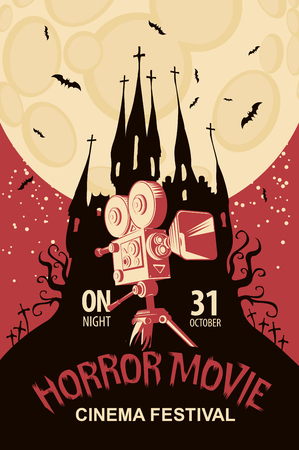 Vector poster for a festival of horror movie with an old film projector and creepy Gothic castle on a cemetery at the moonlit night. Scary cinema. Can be used for ad, banner, flyer, web design