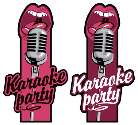 Set of two vector stickers for karaoke party with calligraphic inscription, a microphone and a mouth that sings