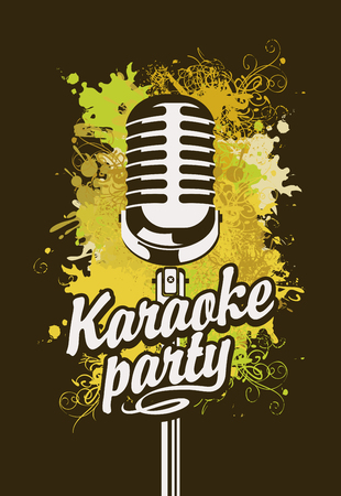 Vector music poster or banner with microphone and inscription karaoke party on the art background with colored spots, splashes and curls in grunge style