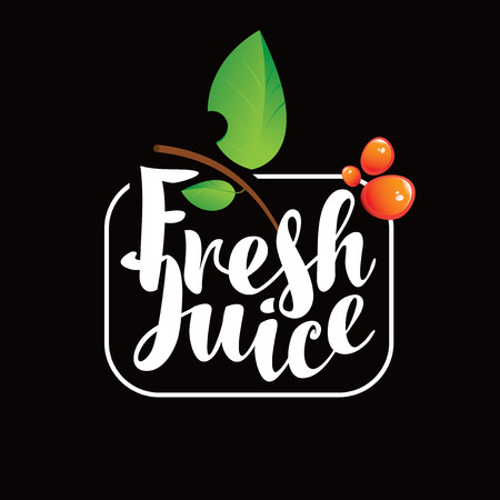 Vector logo with calligraphic inscription Fresh juice with green leaves and drops on black background