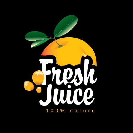 Vector banner with ripe juicy orange, juice splashes and calligraphic inscription Fresh juice on black background