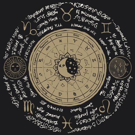 Vector circle of the Zodiac with icons, names, signs, constellations, Sun and Moon on the black background with ancient mystic inscriptions in retro style