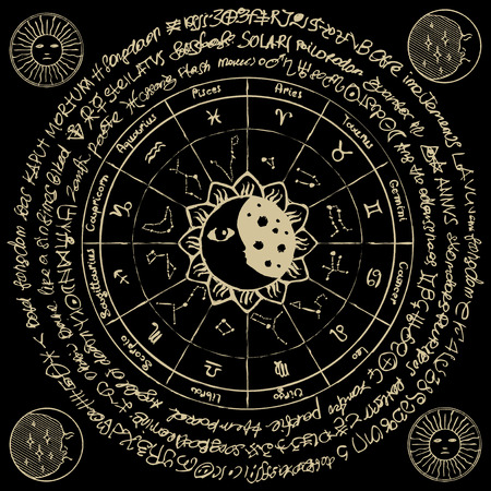 Vector circle of the Zodiac with icons, names, signs, constellations, Sun and Moon on the black background with ancient inscriptions in retro style Illustration