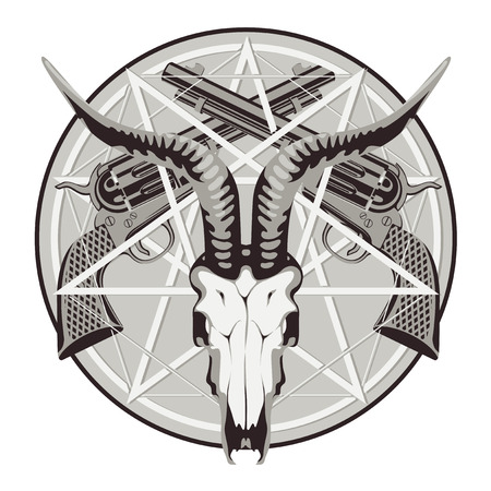 Vector round emblem with a goat skull on the background of pentagram and two old crossed revolvers. Banner on the theme of occultism, death and firearms. Template for clothing, t-shirt design, tattoo
