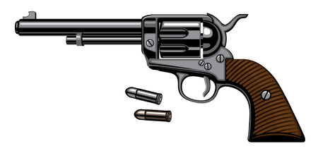 Illustration with old revolver with two bullets isolated on white background in a detailed realistic style. Vector banner on firearms and pistols theme. Design elements for logo, label, emblem, sign