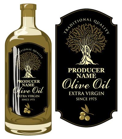 Étiquette vectorielle pour huile d'olive extra vierge avec inscription calligraphique manuscrite, olivier et brin d'olivier dans un cadre figuré sur fond noir dans un style rétro. Étiquette de modèle sur bouteille en verre Vecteurs