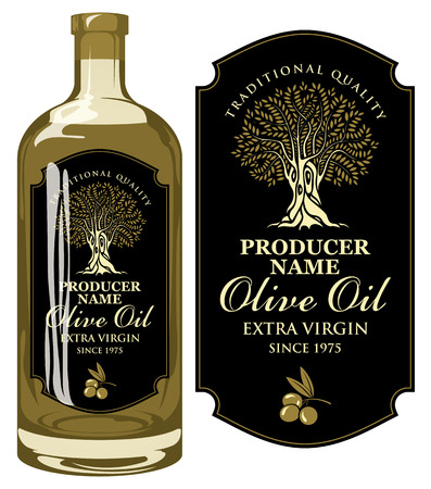 Vector label for extra virgin olive oil with handwritten calligraphic inscription, olive tree and olive sprig in figured frame on the black background in retro style. Template label on glass bottle