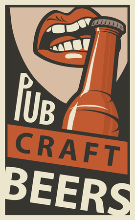 Vector banner for Pub with craft beers. Flat illustration in retro style with the mouth opening a beer bottle with your teeth