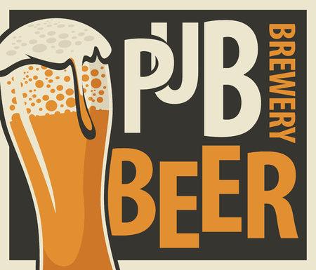 Vector label or banner for beer pub and brewery, with overflowing glass of frothy beer in retro style on black background