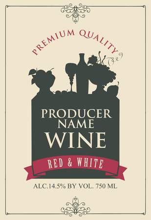 Vector label for wine with the silhouette of a still life from bottle, wine glass and bowl of fruit in frame with curls in retro style Çizim
