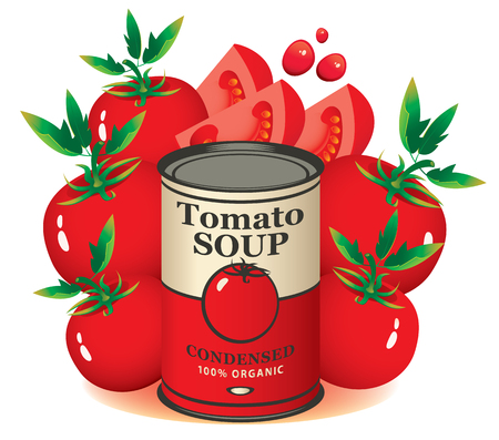 Vector banner for condensed tomato soup. Illustration with a tin can and whole and sliced ripe tomatoes.
