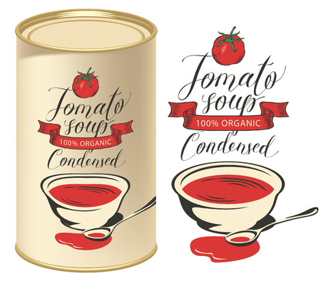 Vector illustration of label for condensed tomato soup with handwritten inscriptions on light background and tin can with this label