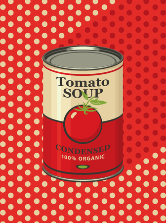 Vector illustration of tin can with a label for the condensed tomato soup on a background of red tablecloth with light polka dots