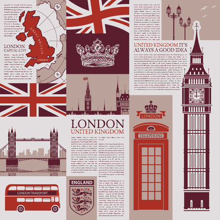 Vector seamless background on the theme of the UK and London with newspaper publications, architectural landmarks, British symbols and flag in retro style. Can be used as Wallpaper or wrapping paper