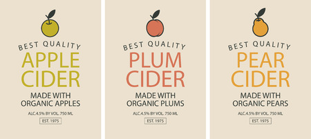 Vector set of labels for different types of cider. Three cider labels with apple, plum and pear.