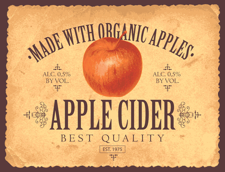Vector label for apple cider with realistic image of an apple in retro style on the old paper background