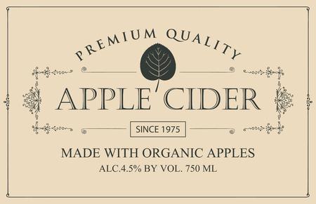 Etiqueta de vector para sidra de manzana con hoja en marco figurado en estilo retro sobre fondo beige Ilustración de vector