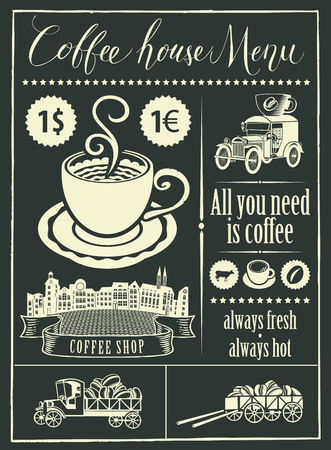 Vector menu for a coffee house and set of design elements with handwritten inscriptions, a cup of coffee and vintage cars in retro style. Drawing chalk on the blackboard. Illustration