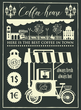 Vector banner for a coffee house and set of design elements with mobile coffee shop, old cityscape and handwritten inscriptions in retro style. Drawing chalk on the blackboard.