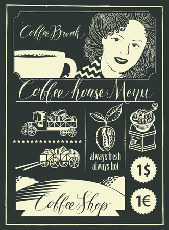 Vector menu for a coffee house and set of design elements with handwritten inscriptions, girl, a cup of coffee and vintage cars in retro style. Drawing chalk on the blackboard. Illustration
