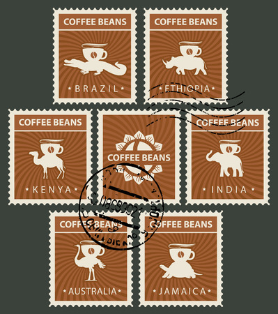 Vector set of postage stamps on the theme of coffee in retro style with rubber stamps. Postmarks with animals from different countries, carrying coffee