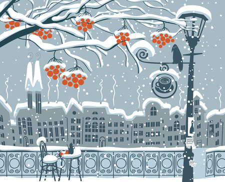 Vector winter cartoon illustration. Cityscape with snow-covered branches of rowan tree and open-air cafe with lamppost and crow on the background of old european town