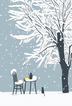 Banner invernale vettoriale o paesaggio con albero innevato e caffè all'aperto con tè caldo sul tavolo e gatto solitario