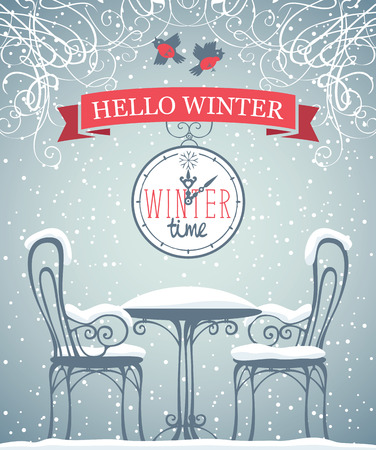 Vector banner with words Winter time on the clock and words Hello winter on the red ribbon in retro style. Illustration with clock and snow-covered open-air cafe on the grey background with snowflakes