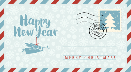 Vector envelope on the theme of Christmas and New year with postage stamp and postmark. Calligraphic inscription Happy New year with angel on string on the snowflakes background.