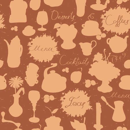 Vector seamless pattern on the theme of drink and food with handwritten inscriptions and cartoon drawings of tableware and fruit. Set of silhouettes with spots and splashes in retro style Vettoriali